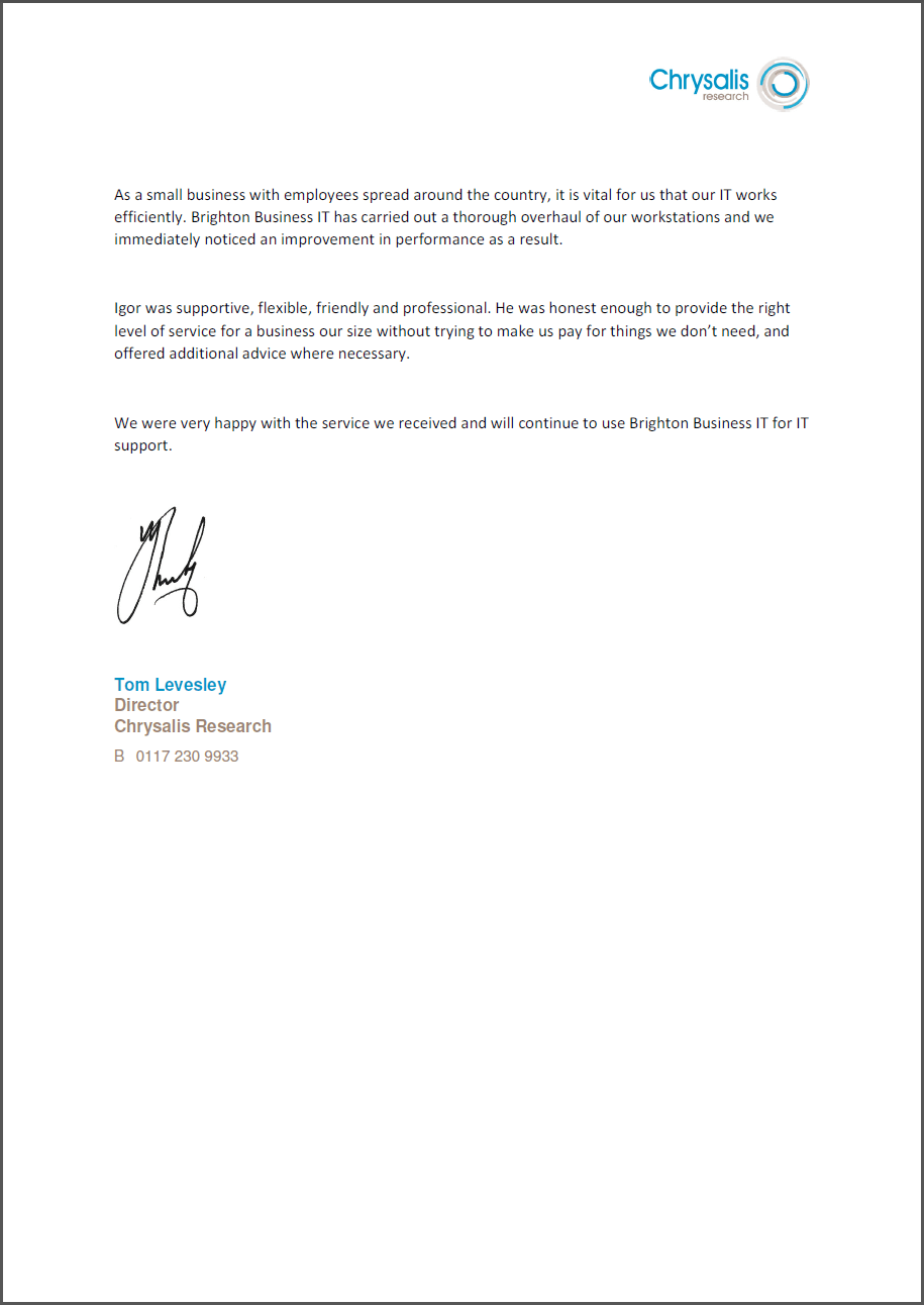 Chrysalis Research recommendation letter to Brighton Business IT