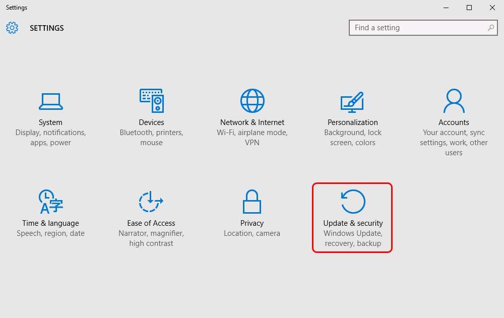Locate the last button Update & Security in Settings window. You may need to scroll down to find it.