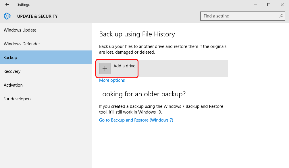 Click on a Plus Button - Add Drive