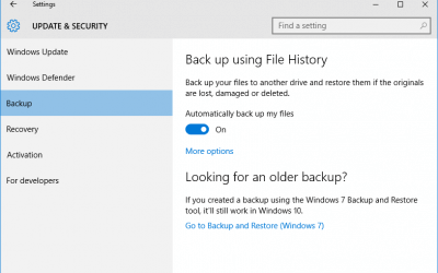 How to back up in Windows 10 with File History