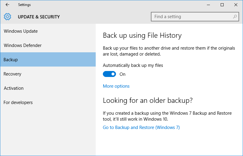 Windows 10 Backup is enabled. Windows 10 will automatilly back up your default directoris to the selected memory stick.