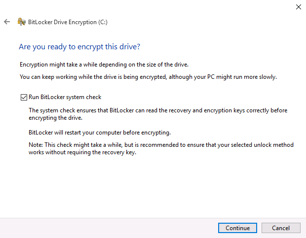 Confirm BitLocker Encryption