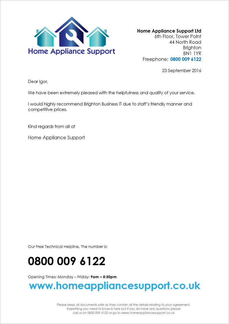 Home Appliance Support recommendation letter for  Brighton Business IT