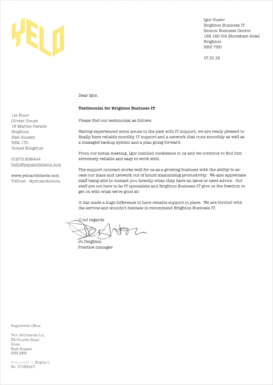 Yelo Architect's recommendation letter for Brighton Business IT