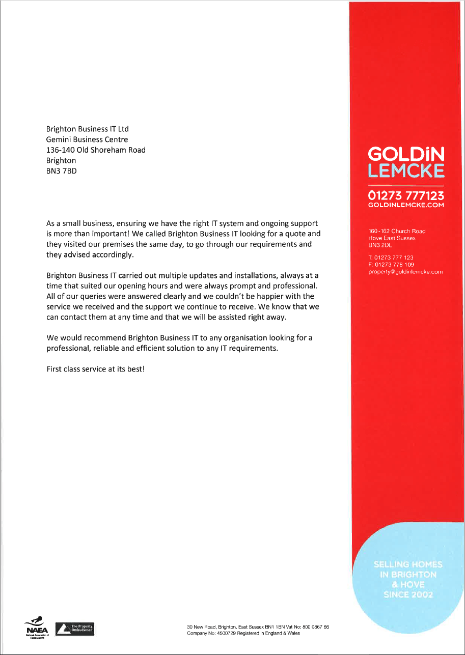 Goldin Lemcke Estate Agent's recommendation letter for Brighton Business IT services.