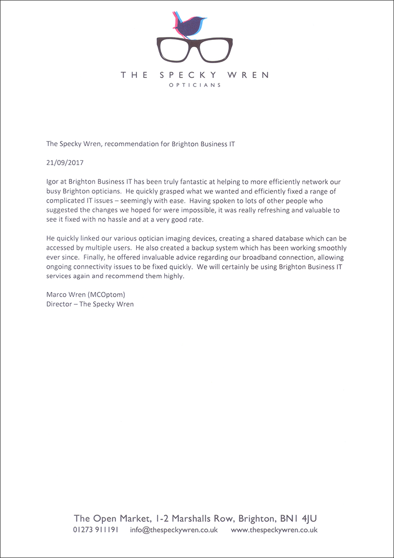 The Specky Wren letter of recommendation for Brighton Business IT