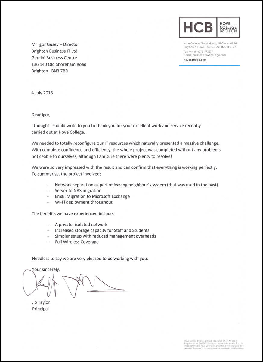 Hove College recommends Brighton Business IT in a letter.